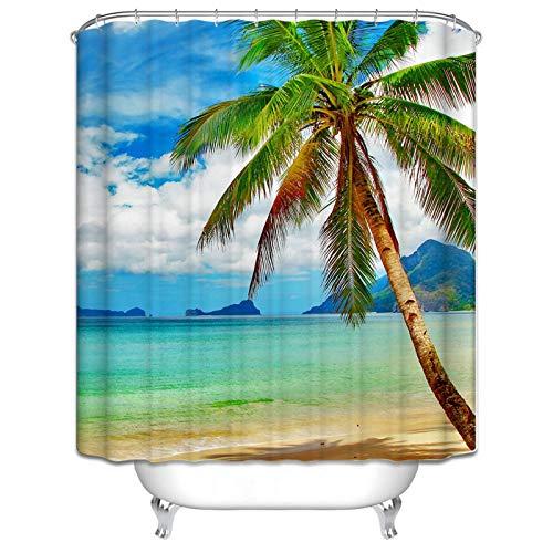 SonMo Duschvorhang Polyester Bunt 3D Digitaldruck Kokosnussbaum Wasserdicht Anti Bakteriell Bad Vorhang für Badezimmer Blickdicht als Trennwand Wasser Beständig 180X180CM
