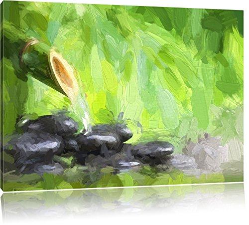 Wasserquelle mit runden Steinen Format: 120x80 auf Leinwand, XXL riesige Bilder fertig gerahmt mit Keilrahmen, Kunstdruck auf Wandbild mit Rahmen, günstiger als Gemälde oder Ölbild, kein Poster oder Plakat -