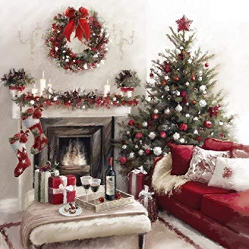 """Musical Weihnachten karte \""""Weihnachten Kamin\"""". Offen Gruß Karte und hear 15-20 sekunden von Weg in einer Krippe von die Chor von Chichester Kathedrale"""