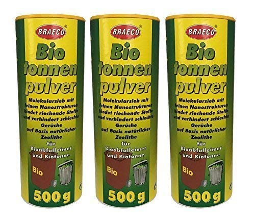 Preisjubel 3 x 500g Biotonnenpulver Mülleimer-Pulver, Vorbeugen gegen Maden Abfalltonne -
