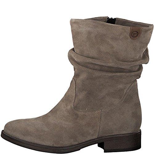 Tamaris Damen Stiefel 25472-21,Frauen Boots,Reißverschluss,Blockabsatz 3cm,Taupe,EU 41