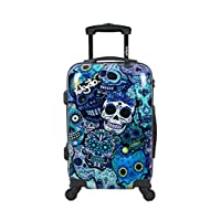 Cabin Luggage 55x35x20 Suitcase 20 inch in Ryanair Easyjet Lightweight 4 Wheel Hard Case Kids Small Size Children Powerbank Charger Prepared Blue Skulls by TOKYOTO Luggage (ONLY Trolley)