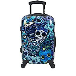 Maleta de cabina (SIN cargador) equipaje de mano 55x40x20 maleta juvenil trolley de viaje Ryanair Easyjet maleta de viaje rígida BLUE SKULLS TOKYOTO LUGGAGE