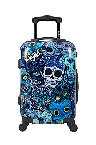Maleta de cabina (CON cargador) equipaje de mano 55x40x20 maleta juvenil trolley de viaje Ryanair Easyjet maleta de viaje rígida BLUE SKULLS (preparada para cargar móviles) TOKYOTO LUGGAGE (maleta + cargador)