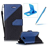 For Huawei Y5 II/Y5 2 Strap Leather Case,Herzzer Stylish Stitching Color Book Style PU Leather Wallet with Hand Wrist Credit Card Slot Folio Flip Magnetic Stand Case with Soft TPU Inner Full Body Protective Folder Case Cover Skin for Huawei Y5 II/Y5 2 + 1