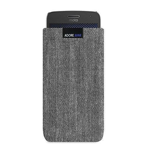 Adore June Business Tasche für Motorola Moto G5 Plus Handytasche aus charakteristischem Fischgrat Stoff - Grau/Schwarz | Schutztasche Zubehör mit Bildschirm Reinigungs-Effekt | Made in Europe
