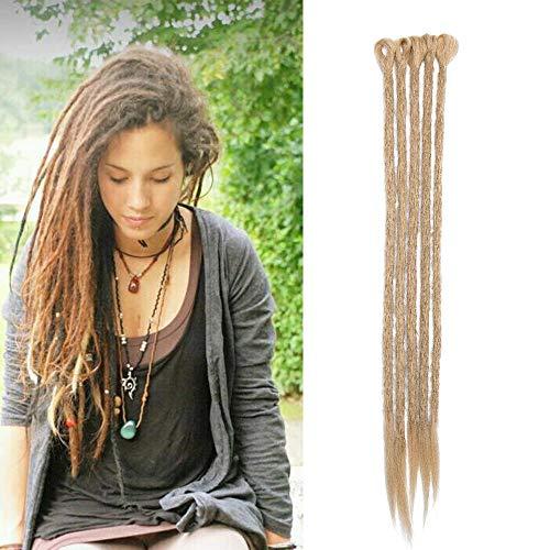 Dreadlock extension capelli sintetici dread extension rasta per treccine lunghe braids hair treccia fibre 50cm da donna uomo, confezione da 5, biondo cenere