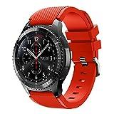 iHee Bracelet de rechange souple en silicone pour montre Samsung Gear S3 Frontier M Red