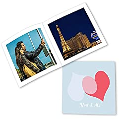 Clixicle Customized Best Friends Forever Flip Photo Book Album - Blue Pink Hearts, 20 pages, 6in x 6in