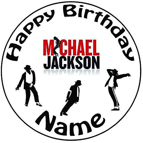 Décoration pour gâteau personnalisée Michael Jackson–Une décoration glaçage prédécoupée ronde 20,3cm (20cm)