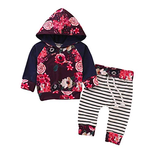 Fuibo Baby Halloween Kleidung, Neugeborene Baby Jungen Mädchen Floral Hoodie Tops + Prin Gestreiften Hosen Kleidung Sets (12-18M(90), Navy)