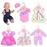 Ebuddy 6 Sets Doll Clothes Outfits Costume for 14 to 16 Inch New Born baby Dolls and 18 Inch Dolls Such as American Girl,Our generations, Journey girl dolls