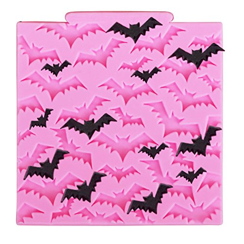 �use Kuchenform Silikon Halloween Bats Fondant Schokoladenform Gelee DIY Dessert Formen für Kuchen Cupcake Muffin Deko Zufällige Farbe, Silikon Formen Serie 10.3 * 10.3 * 0.7cm ()