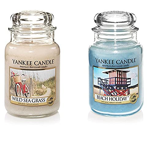 SET OF 2 YANKEE CANDLE LARGE 22oz JARS SCENTS VOTIVE SETS 150 HOURS BURN TIME (WILD SEAGRASS & BEACH HOLIDAY)
