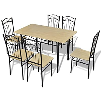 VidaXL Dining Set Light Brown 1 Table With 6 Chairs - low-cost UK light store.