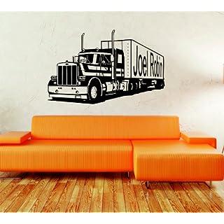 Truck, LKW mit Wunschnamen/Wunschschrift 1 zeile oder 2 zeilen - ca. 150 x 95 cm (bxh) - SCHWARZ