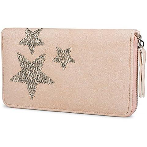 styleBREAKER monedero con remaches de estrellas, cremallera circular y correa de mano, mujeres 02040043