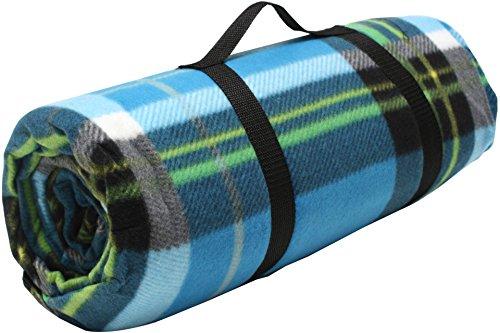ADVENTURE OUTSIDE Picknick Decke XXL Fleece 200 x 200 cm Blau kariert Camping