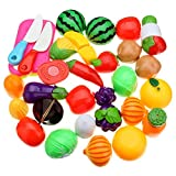 #10: PLUSPOINT Realistic Sliceable 15pc Fruits & Vegetables Cutting Play Set, Can Be Cut in 2 Parts (15pc )
