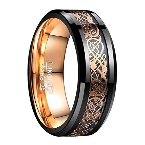 ram Ring Herren Damen Keltisch mit Drachen Mustern Schwarz Rosegold 8mm mit Schwarzen Kohlefasern für Partnerschaft Trauung Alltag Größe 62 ()