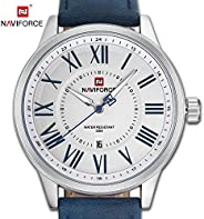 Naviforce Men's White Dial Genuine Leather Analogue Classic Watch - NF9126-