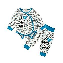 Livoral Kleinkind Baby Jungen Mädchen Langarm Brief Drucken Strampler Body + Hosen Outfits(Blau,6-12 Monate)