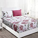 Maspar Superfine 210 TC Cotton King Bedsheet with 2 Pillow Covers - Floral, Red