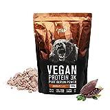 nu3 - Proteína vegana 3K - 1kg - Polvo chocolate - 70% de proteína a base de 3 componentes vegetales - Proteínas para el crecimiento de la masa muscular con delicioso sabor chocolate