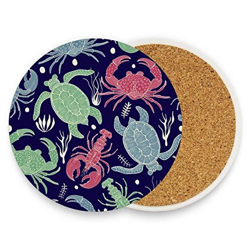 Boho Sea Turtle Crab Hummer Runde saugfähige Keramik Stein Getränkeuntersetzer Kaffeetassen Matten Set für Home Office Bar Küche (Set von 1 Stück), keramik, multi, 4er-Set