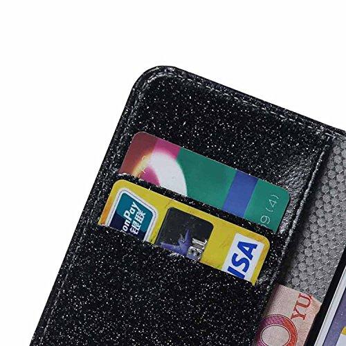 iPhone 7 Plus Hülle,iPhone 7 Plus Handyhülle iPhone 7 Plus Wallet Case Cover Tasche [Flash Pulver] Brieftasche Flip Hülle im Bookstyle Cover Schale Etui Karten Slot Schutzhülle Für iPhone 7 Plus Leder schwarz