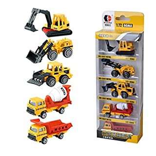 AmaMary 5 Pcs 1:72 Sliding Alloy Engineering Car Model Educational Toys for Children (yellow)