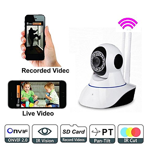Samsung Galaxy Discover S730M Compatible Wireless HD IP Wifi CCTV [Watch ONLINE DEMO right now] indoor Security Camera Live vedio in mobile or Laptop (support upto 128 GB SD card) (white Color) Model:D8810 By SHARAV