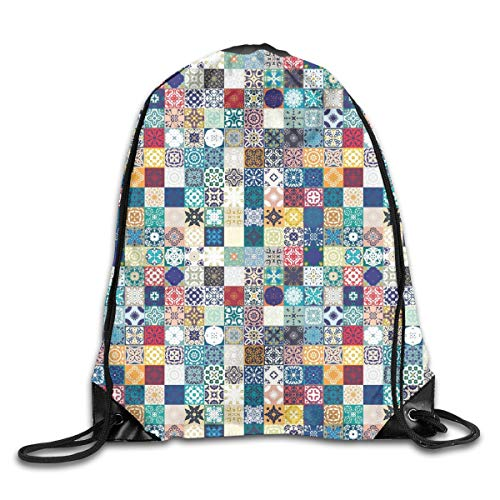 Polyester-walking Shorts (New Shorts Oriental Eastern Pattern with Grid Style Patchwork Ornament Tiles Design Asian Drawstring Backpack Rucksack Shoulder Bags Sport Gym Bag for Men and Women)