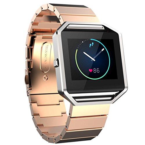 Pour Fitbit Blaze Smart Watch Ouneed® Homme Remplacement Bracelet en acier (Rose or)