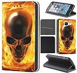 Samsung Galaxy S6 G920 Hülle von CoverHeld Premium Flipcover Schutzhülle S6 G920 aus Kunstleder Flip Case Motiv (1061 Totenkopf Skull Flammen Gelb Gold)