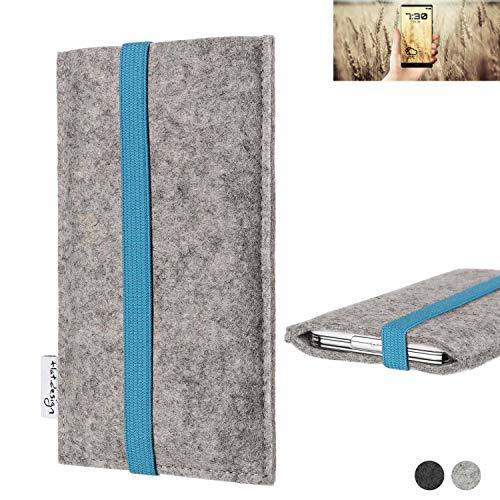 flat.design Handy Hülle Coimbra für Allview X4 Soul Infinity N - Schutz Case Tasche Filz Made in Germany hellgrau türkis