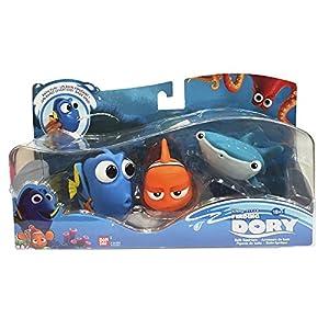 Buscando a Dory - Set de 3 Figuras de baño Dory, Marlin, Destiny, Azul (Bandai 36581)