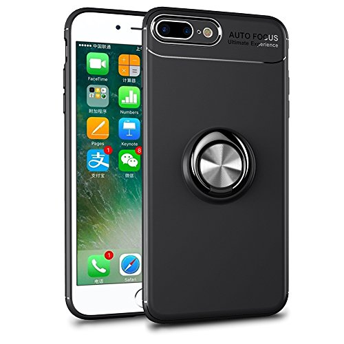 BtDuck iPhone 8 Plus Hülle Schwarz, Soft Ultra Slim Matt Dünn Silikon Hülle iPhone 7 Plus/8 Plus mit Metall Ring Handyhalterung Auto Magnet Ständer Smartphone Halter Ständer Ringhalter Hülle Schwarz