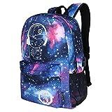 Galaxy Rucksack, School Anime Style leuchtenden Rucksack Fashion Canvas Travel Umhängetasche Laptop Galaxy Rucksack für Jungen und Mädchen (Stern blau mit USB-Schnittstelle)