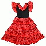 Robe danse flamenco traditionnelle a pois fille rouge Noir (10)