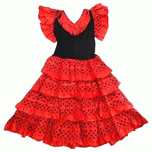 Générique Robe danse flamenco traditionnelle a pois fille rouge Noir (10)