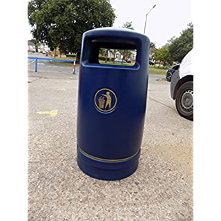 Advancedscape Hefton Large Capacity Plastic Outdoor Litter Bin Complete with an Ashtray Top - Street Waste Bin - BLUE