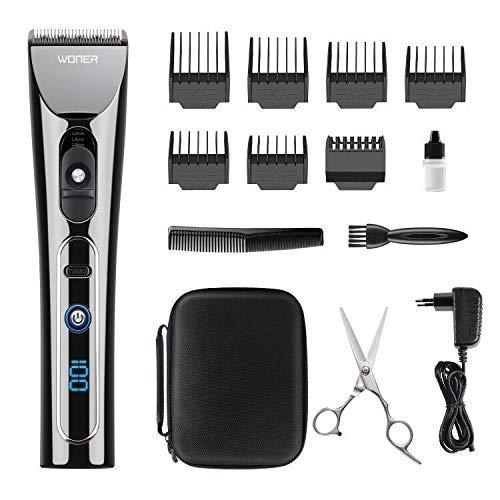 Profi, WONER HC827B Haarschneider Haarscherer Maschine Langhaarschneider Haarrasierer Set Haartrimmer für Herren Männer mit LED Anzeige, Turbo-Funktion ()