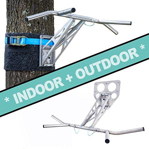 PULLUP & DIP Premium Edelstahl Klimmzugstange und Dip Stange, Mobil für Wand und Befestigung an Baum & Pfosten, für zu Hause + Outdoor im Garten, portabel für über 35 Übungen, Indoor + Outdoor Paket Ge Outdoor-adapter