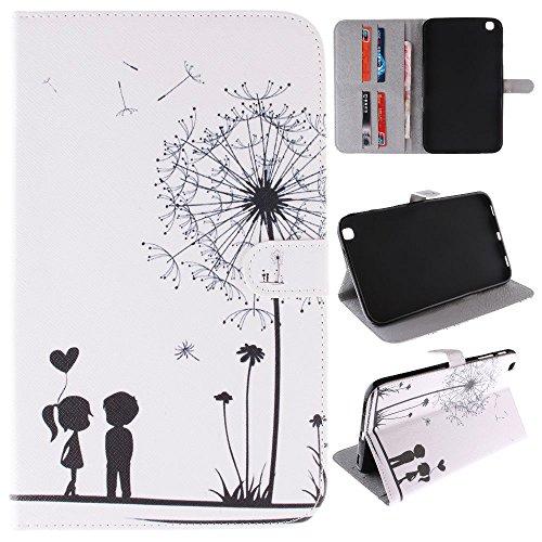 Skytar Samsung Galaxy Tab 3 8 Pouces Etui Housse - Slim Housse de Protection pour Samsung Galaxy Tab 3 8.0 Pouces SM-T310 T311 T315 Coque Pochette ave Support et Fente pour Carte,Pissenlit Blanc