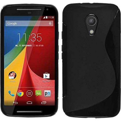 PhoneNatic Case für Motorola Moto G 2014 2. Generation Hülle Silikon schwarz, S-Style + 2 Schutzfolien