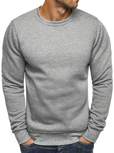 OZONEE Herren Sweatshirt Langarmshirt Pullover Warm Basic J. STYLE 2001-10 L GRAU (Super Crewneck Sweat Sweatshirt)