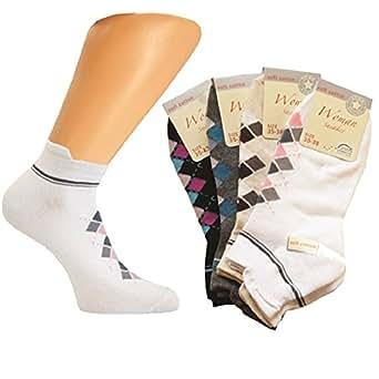 4 Paar Damen Sommer Sneaker Socken mit Karo Muster in versch. Farben Größe 35-38