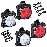 Juego de luces para bicicleta, 2 pares USB recargable, luz delantera y luz trasera para bicicletas, ideal para bicicletas de montaña o carretera, luz para el casco, lámpara de cabeza,luz para mochila