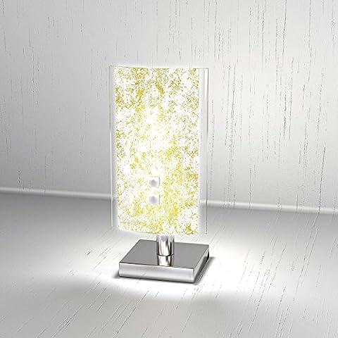 Lampada da Tavolo moderna BRICKA Lumetto diffusore in Vetro Satinato Foglia Oro Abat-Jour Scrivania, Comodino,
